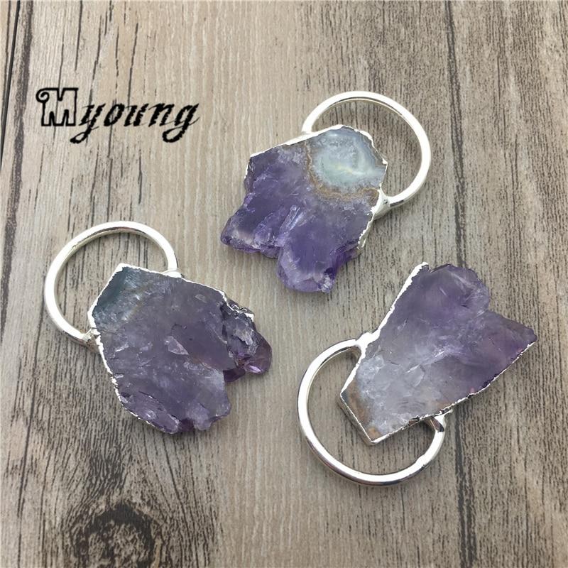 Natura ametysty wisiorek, fioletowy kryształ kwarcowy Charms z posrebrzane pętli MY1820 w Wisiorki od Biżuteria i akcesoria na  Grupa 1