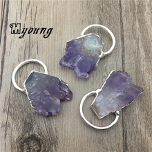 Nature Amethysts Slice Pendant,Purple Crystal Quartz Charms With Silver Plated loop  MY1820