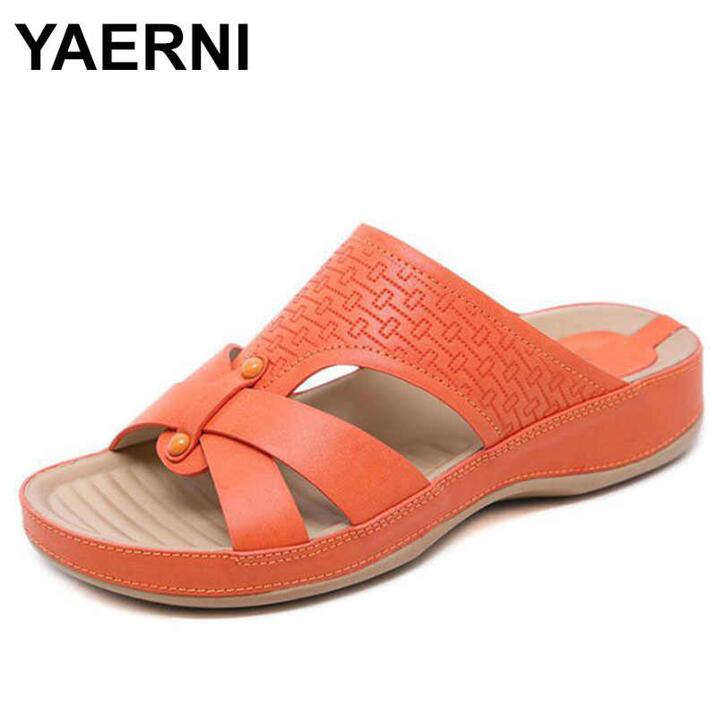 YAERNILadies Flipflop Cork Leather Slipper Women Home Shoes OfficeSlippers Beach Summer FlipFlops Sandalias De Verano Para Mujer