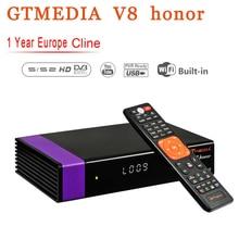 GTMedia V8 Honor Satellite Receiver Bult-in WiFi with 1 Year Spain Europe Cccam Cline Full HD DVB-S2/S Freesat NOVA Receptor