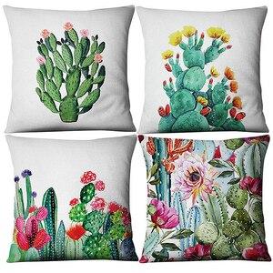 Image 5 - Tropical Sukkulenten Pflanzen Kaktus Blume Druck Kissen Kissen Abdeckung für Couch Auto Sofa Hinterhof Küche Home Room Decor