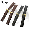 iStrap 12 13 14 15 16 18 19 20 21 22mm 24mm Watch Strap for Hours Black Brown Croco Grain Gold Clasp Leather Watchband for Timex