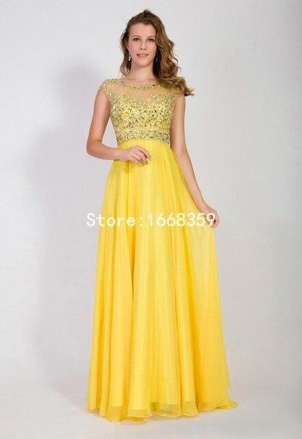 1f8e362710e4b New Fashion Yellow Long Elegant Prom Dresses O Neck Sleeveless Beaded A  Line Mother Of The Bride Dresses Plus Size 2015 ZL1372
