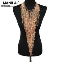 Bohemian Style Design Women Fashion Charm Jewelry Resin Bead Handmade Long Tassel Statement Link Chain Choker