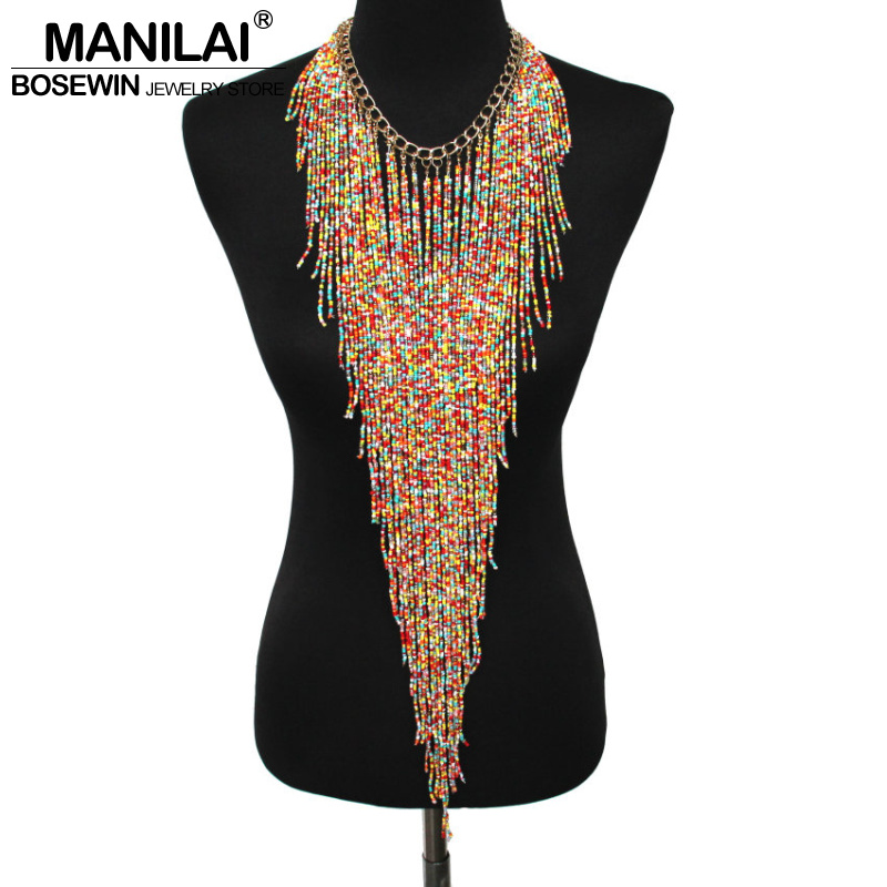 MANILAI Bohemian Style Design Women Fashion Charm Jewelry Resin Bead Handmade Long Tassel Statement Link Chain Choker Necklace gorgeous rhinestone geometric bead chain tassel necklace for women
