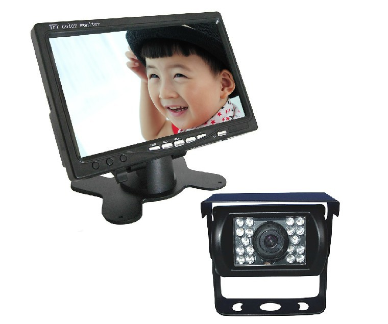 ФОТО Car 7 inch Pillow TFT LCD Color Monitor 2CH Video Input car monitor with IR reverse bus truck camera