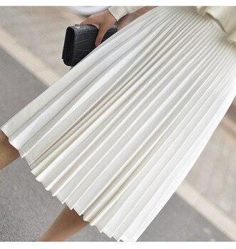 2019 Atumn Women Elegant Pleated Skirt High Waist Women White Long Skirt Female Ladies High Quality Women Midi Skirt Black Saia 1