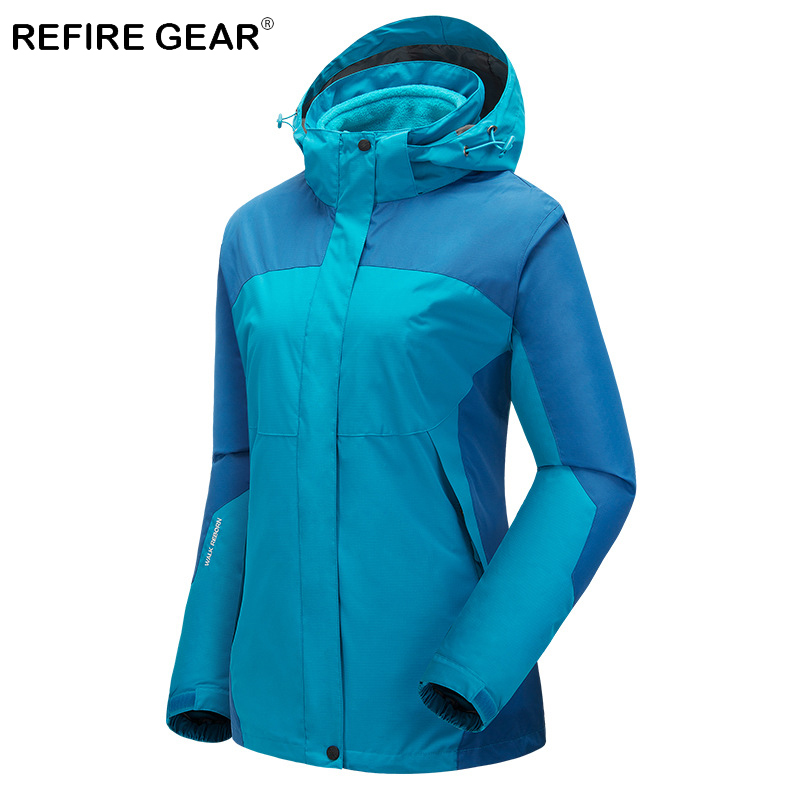 camel outdoor jacket 3 in 1 women windproof waterproof jacket female camping hiking jackets rain windstopper windbreaker Refire Gear Winter Outdoor Waterproof Camping Jacket Women Windproof Windbreaker Hiking Jackets Female Warm Skiing Sport Jackets