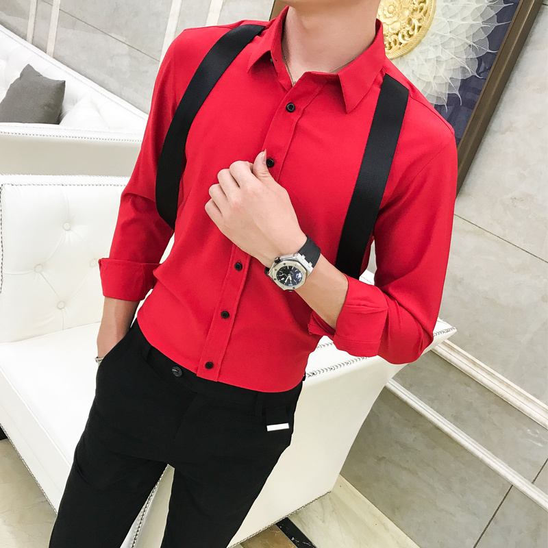 2018 British wind nightclub tide men Slim strap decoration long sleeved shirt hairdresser red shirt men evening dress shirt