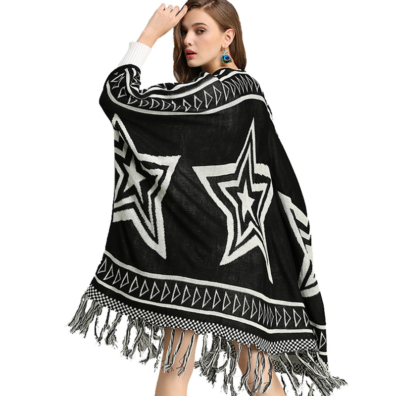 Women Knitted Sweater Cardigan Black Autumn Winter Long Stars Pattern Batwing Sleeve Tassel Boho Chic Vintage Cardigans Coats