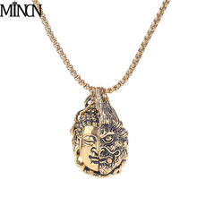 MINCN Creative Buddha necklace nightclub hip hop one read between half magic pendant punk necklaces pendants