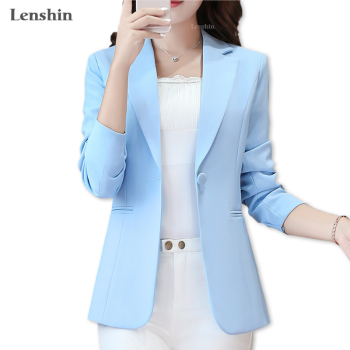 Lenshin New Fashion Blazer S mple Jacket for Women Two Pockets Candy Color Coat Single Button Outerwear Female Office Lady Tops