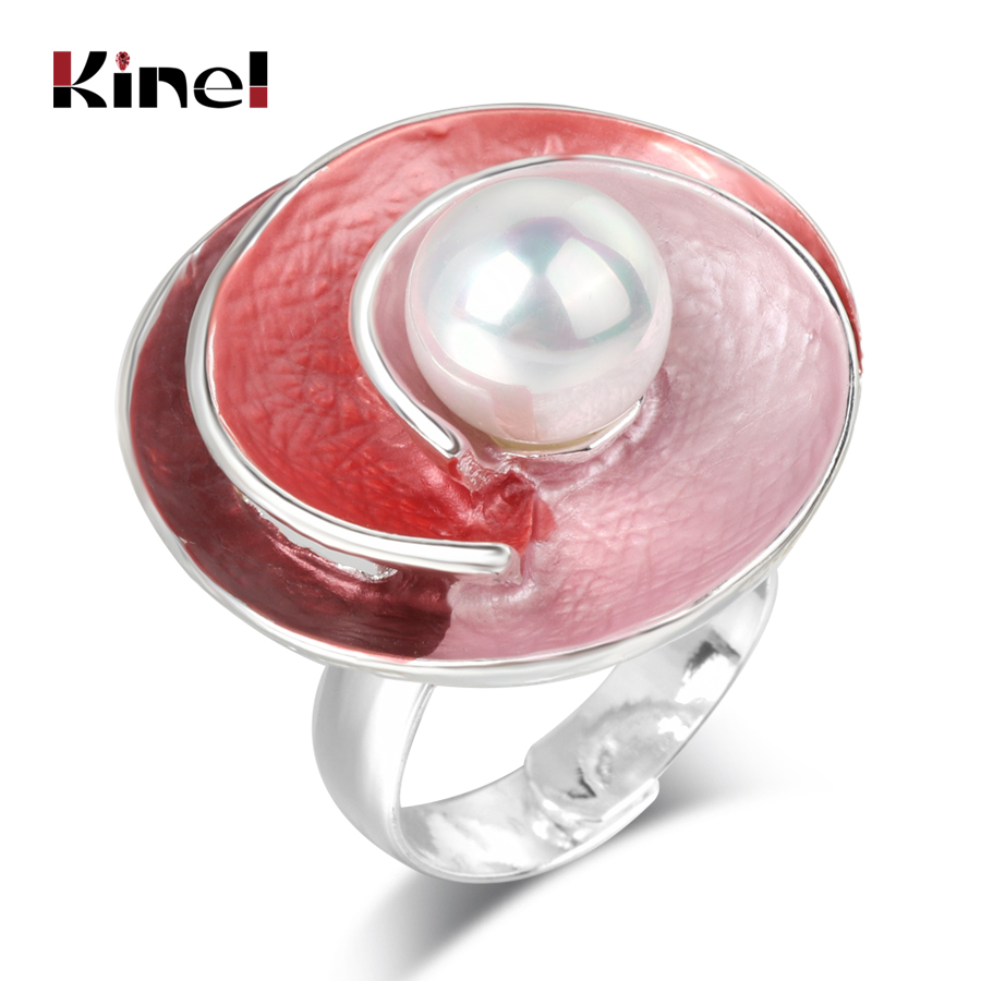 Kinel New Creative Ring Geometry Colorful Enamel Silver Color ...