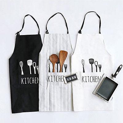 Adjustable Print Pattern Apron Chef Waiter Kitchen Cook Apron With Pockets Polyester Halter Bib Delantal Cocina For Man Woman my apron