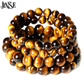 JINSE Natural Stone Strand Bracelet Tiger Eye Stretch Bracelet Charm Men Women DIY Natural Healing Stone Beaded Bracelets