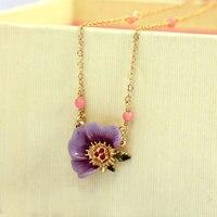Les Nereides Purple Flower Pendant Necklace For Women Good Quality Enamel Party Jewelry Wholesale Accessories