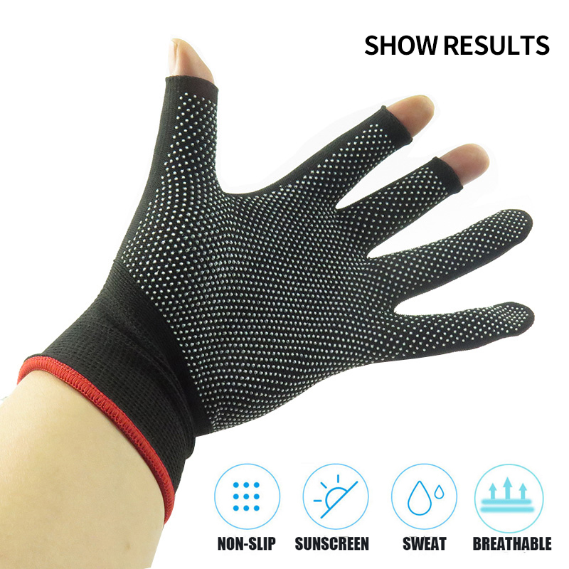 Nylon Fishing Gloves Men's Outdoor Non slip Fishing Protective Gloves Three Finger Cutting SportsCycling Gloves Cycling Gloves-in Fishing Gloves from Sports & Entertainment