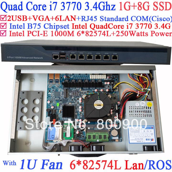 router mikrotik 1U server with six intel PCI-E 1000M 82574L Gigabit LAN Intel Quad-Core i7 3770 3.4G Mikrotik ROS 1G RAM 8G SSD original eicon diva server 4bri 8m pci 810 407 01 selling with good quality