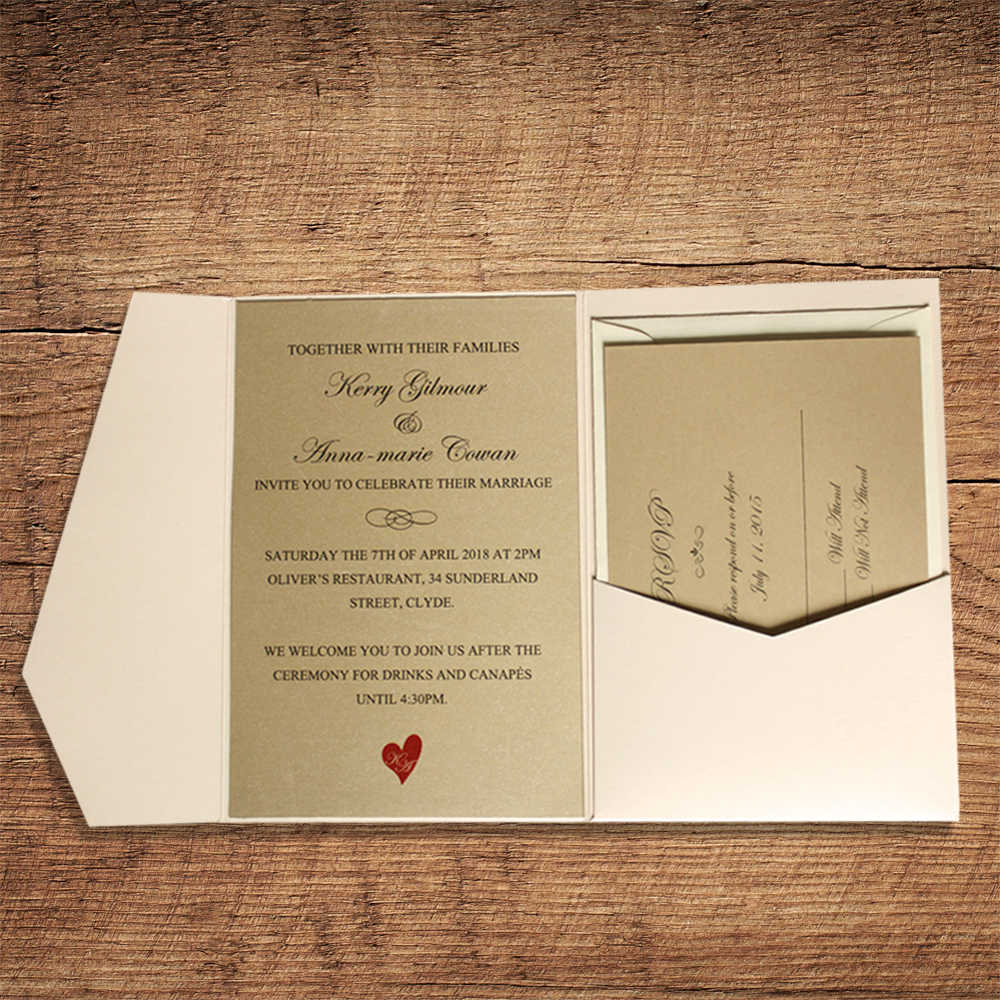 Pearl White Pocket Wedding Invitations with Golden Invite Cards, RSVP and  Return Envelopes Included Set of 50|white card|pearl cardcard with envelope  - AliExpress