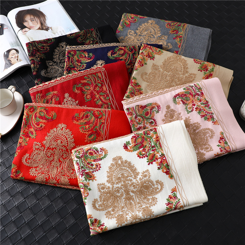 Embroidery Scarf For Women 2020 Winter Thick Warm Neck Cashmere Scarves Lady Shawl Wrap Female Foulard Blanket Tassel