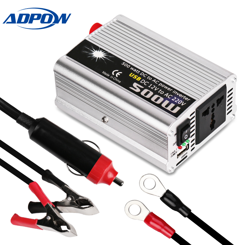 ADPOW Car <font><b>Inverter</b></font> DC <font><b>12v</b></font> To AC 220v 500W Peak <font><b>1000w</b></font> Power Modified Sine Wave Cigarette Lighter Auto <font><b>Inverters</b></font> USB Charger image