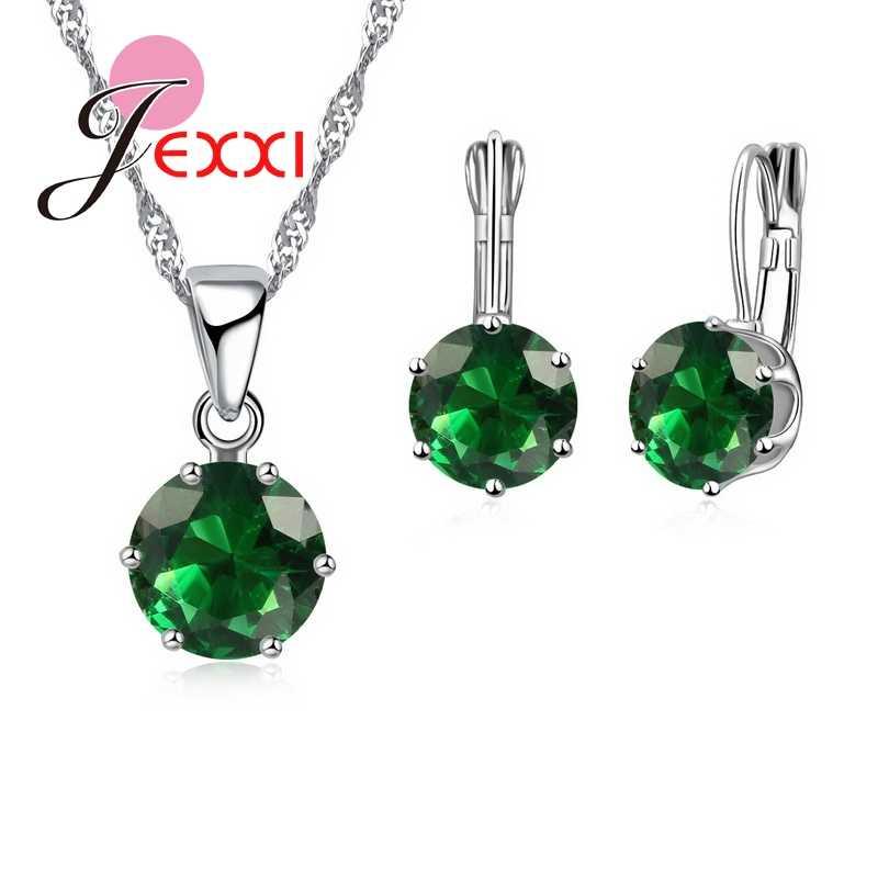 Heißer Verkauf 925 Sterling Silber Candy Farbe Frauen Trendy Halskette Brincos Ohrring Hochzeit Zubehör Mädchen Schmuck Sets
