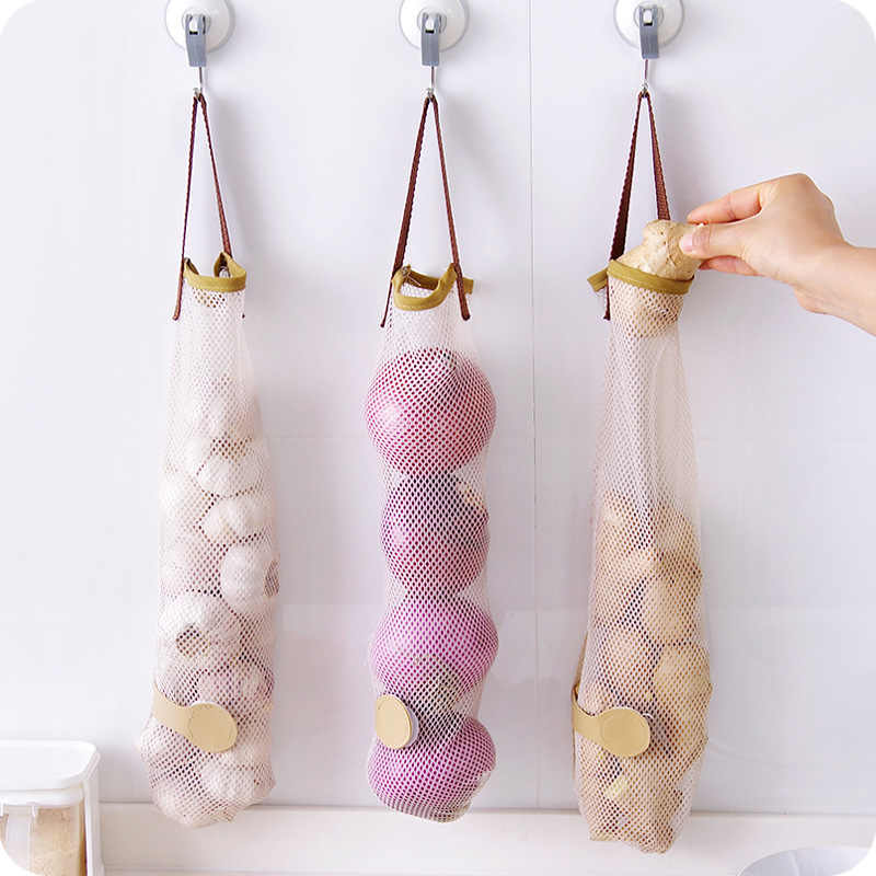 Creative Vegetable Onion Potato Storage Hanging Bag Hollow Breathable Mesh Bag Kitchen Garlic Ginger Mesh Storage Bag 8A0859