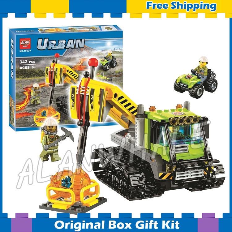 342pcs City 10639 Volcano Exploration Truck Building Blocks Assemble Bricks Gifts Toys Compatible With Lego lepin 02012 city deepwater exploration vessel 60095 building blocks policeman toys children compatible with lego gift kid sets