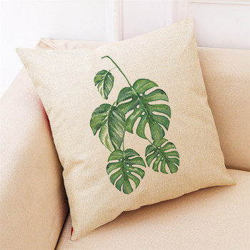 Cover Big Leaf Tropical Plants 45 * 45cm For Sofa, Seat Cushion
