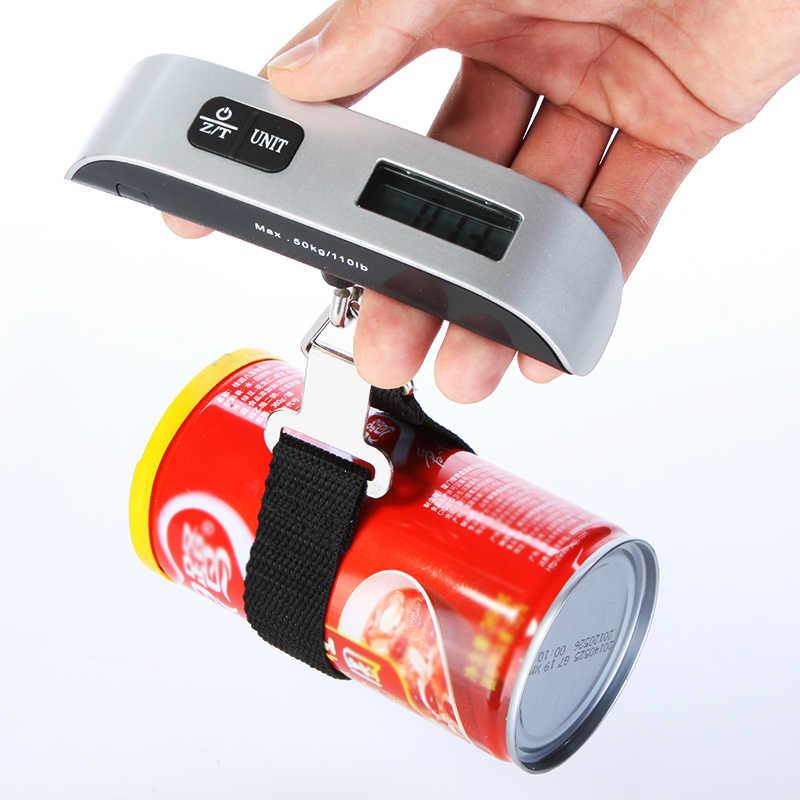 Mini Balança Digital Balança Eletrônica Display LCD Portátil Escala de Bagagem Escala de Peso de Ponderação para Viagens 50kg * 10g 110Lb * 0.02Lb