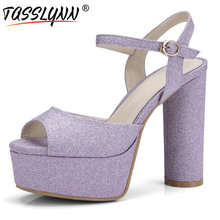 TASSLYNN 2019 Women Sandals Elegant Waterproof Sweet Bling Square Super High Heels Shoes Party  Wedding Size 34-42