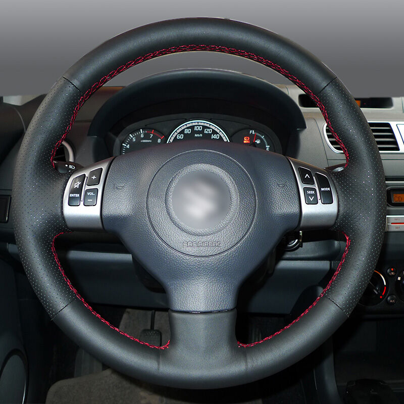 BANNIS Black Artificial Leather DIY Hand-stitched Steering Wheel Cover for Suzuki Swift 2011 2012 2013