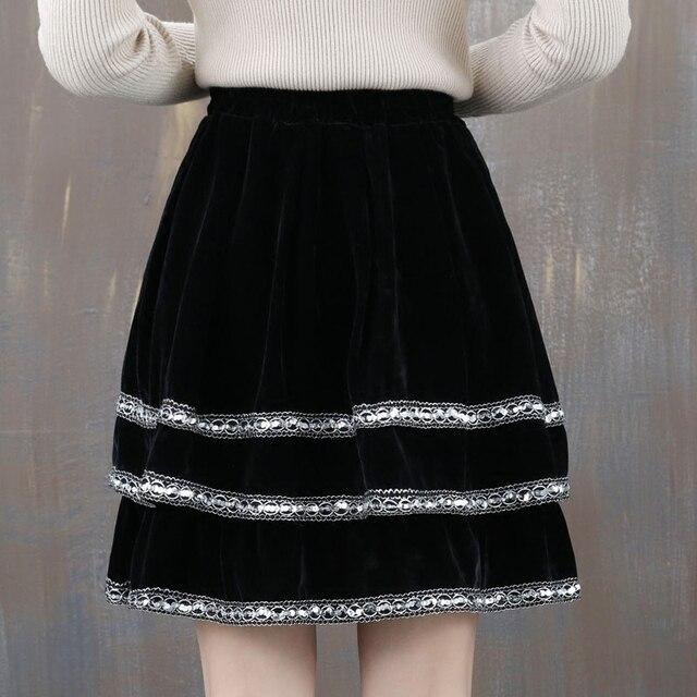 510b62bc5 Autumn and spring new gold velvet skirts embroidered yards female Korean  fashion cake skirt pleated skirt bottoming skirt