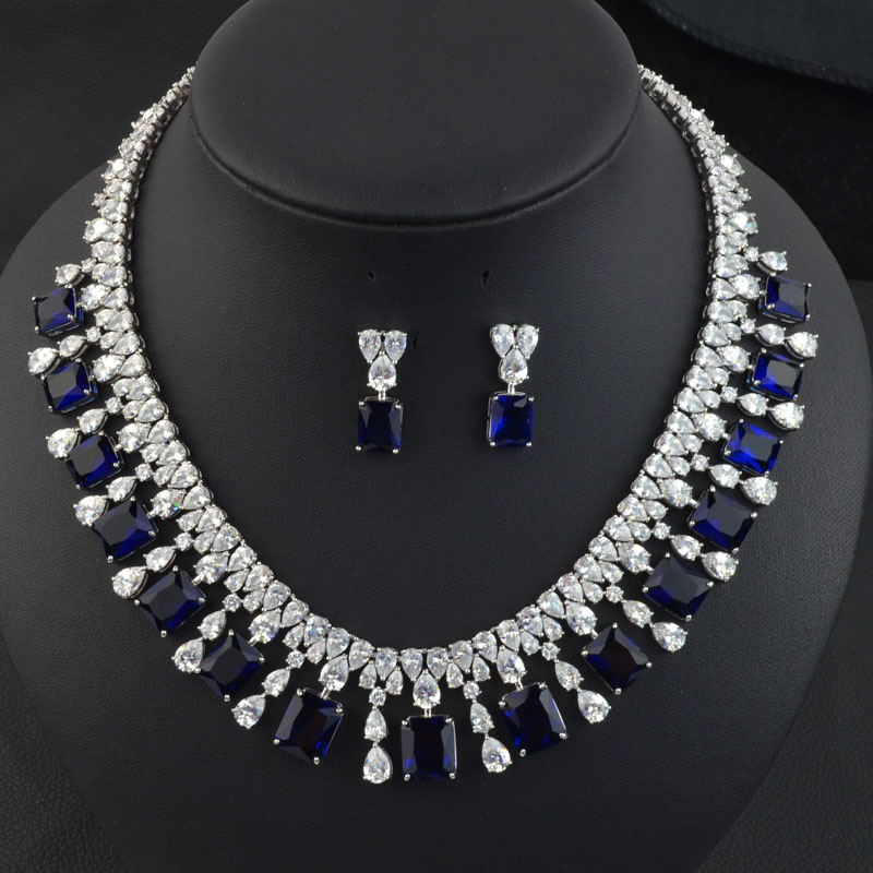 White green blue red wedding bridal jewelry set for women high quality AAA Cubic Zirconia necklace