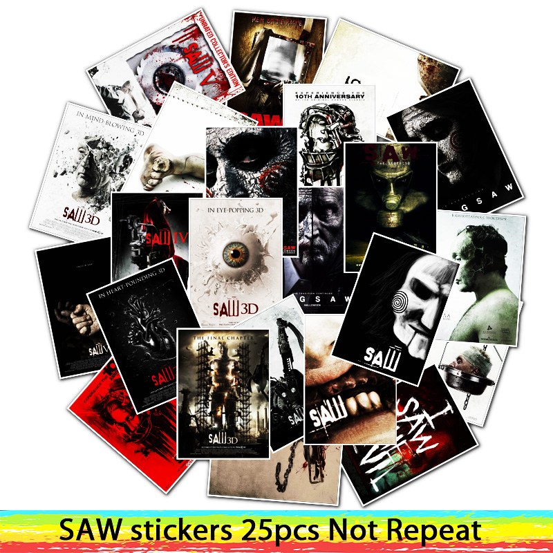 25Pcs Classic Horror Movie Saw PVC Stickers For Laptop Motorcycle Skateboard Luggage Decal Toy Sticker