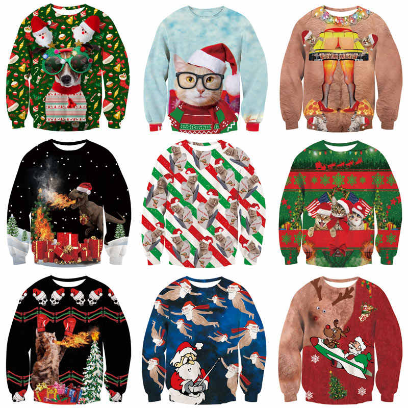 Unisex Men Women 2019 Ugly Christmas Sweatshirt Vacation Santa Elf Funny Christmas Fake Hair Jumper Autumn Winter Tops Clothing