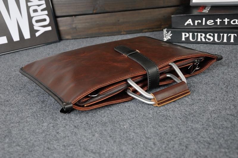 HTB1FOnuajzuK1RjSspeq6ziHVXaS 2019 Designer Men's Briefcase Vintage Shoulder Bags Crazy Horse Leather Crossbody bags Business Laptop Handbag Men travel bags