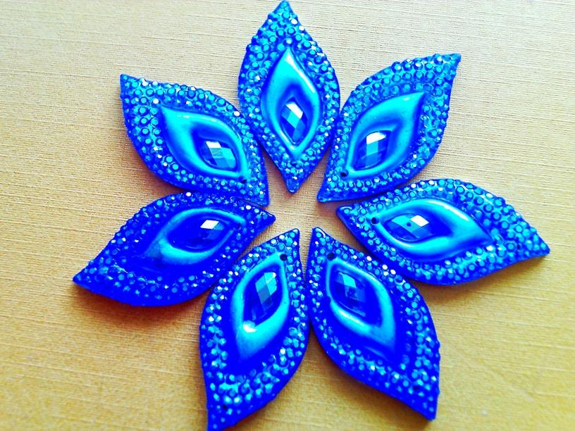 Dazzling blue AB colour crystal eye navette shape sew on Rhinestones Stones Accessores Loose Beads 16*30mm 60pcs/lot