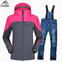 SAENSHING 30 Degree Warm Skiing Jacket Snowboard Pant Women Waterproof Ski Suit Female Snowboarding Suits Outdoor