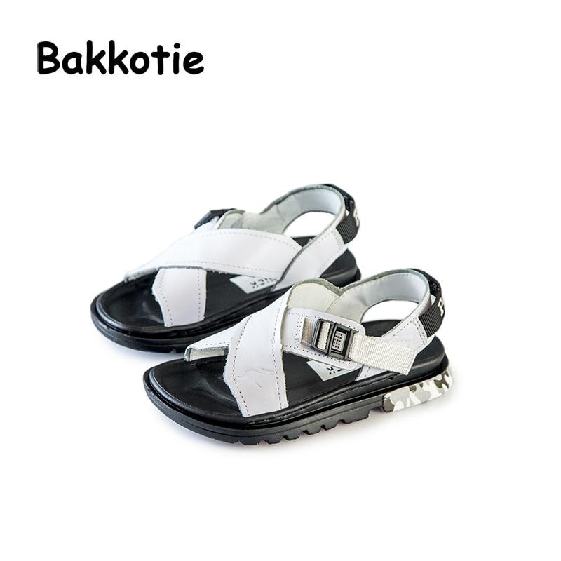 Bakkotie 2018 New Fashion Summer Baby Girl Genuine Leather Beach Sandal Kid Casual Shoe Children Boy Black Brand Sport Flats