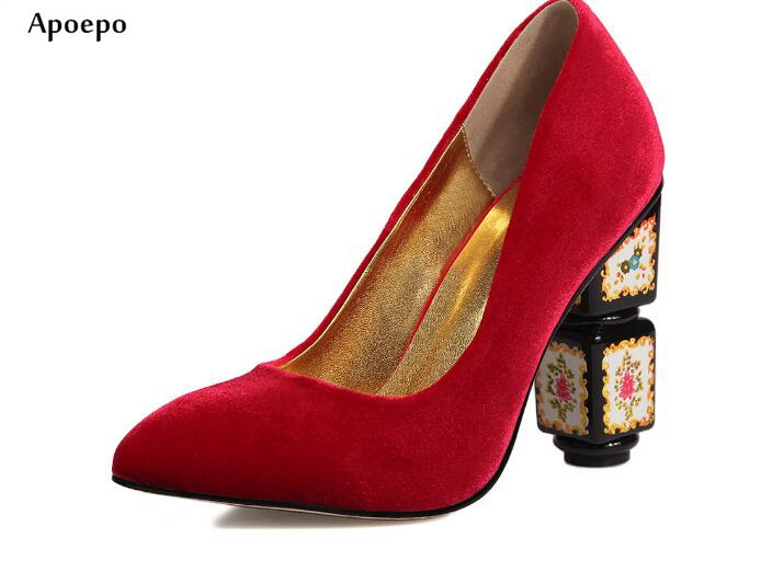Apoepo New Fashion Thick Heels Woman Shoes 2018 Pointed Toe Velvet High Heel Shoes Slip on Printed Stange Heels Pumps new fashion thick heels woman shoes pointed toe shallow mouth ankle strap thick heels pumps velvet mary janes shoes