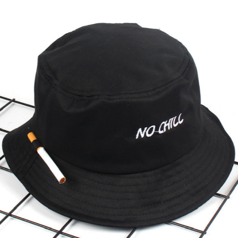 Fashion Embroidery NO CHILL Bucket Hat Hip Hop Beach Women Panama Outdoor Sports Flat Top Fishing Men Cap Fisherman Sun Hat Bob