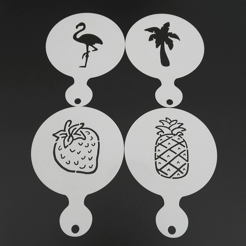 4pcs Plastic Coffee Stencil Strawberry Pineapple Coconut Flamingo Cookie Latte Art Cappuccino Template Barista Tools