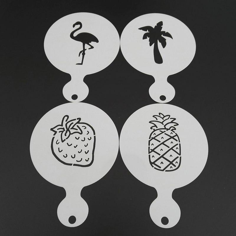 4pcs Plastic Coffee Stencil Strawberry Pineapple Coconut Flamingo Cookie Latte Art Cappuccino Template Barista Tools