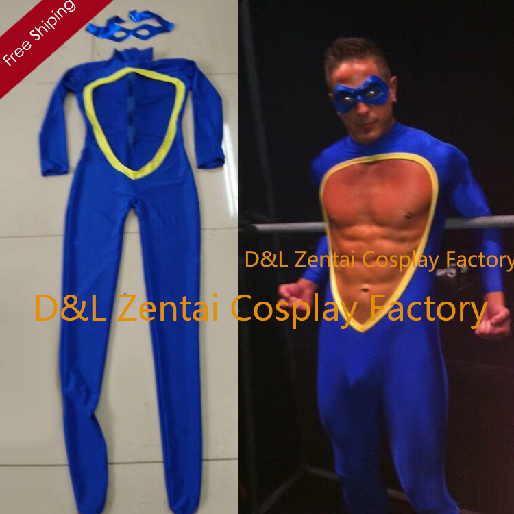 Free Shipping DHL Sexy Bodysuit in Blue Color Open Abdomen Lycra Spandex Costume For Men Zentai Catsuit With Eyes Mask LZ0024