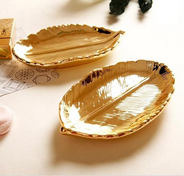 15x9x3cm Modern gold plated leaf ceramic storage plate snack plate dessert jewelry dish jewelry make up storage desk ornaments