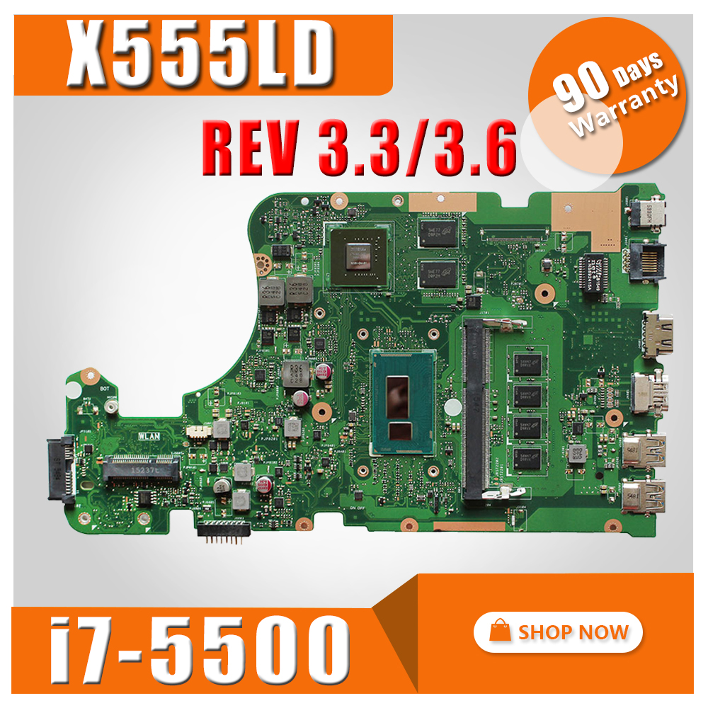 with i7-5500 4GB RAM X555LD Motherboard GT920M 2GB REV3.3/3.6 For ASUS X555L X555LD X555LN Laptop motherboard X555LJ Mainboard apc bk350ei back ups 350 ибп