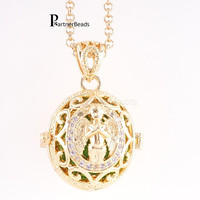 Partnerbeads Guardian Angel Cage Locket Box CZ Stone 2 Colors Plating Stainless Steel Chain Pendant Necklace
