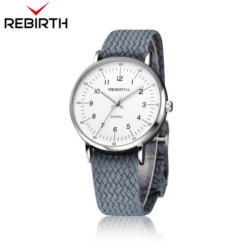 2018 New Fashion Watch REBIRTH Top Brand Luxury Casual Men quartz-watch Nylon Weave Strap Sport Male Clock Man Wristwatches gift