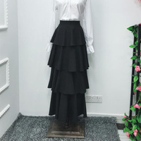 2019 Summer Maxi Skirt Bottom Casual High Waist Cake Bohemian Skirts Sweet Lolita Princess Plus Size Ruffles Long Party Skirts